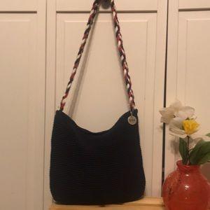 The Sak red navy white crochet shoulder bag